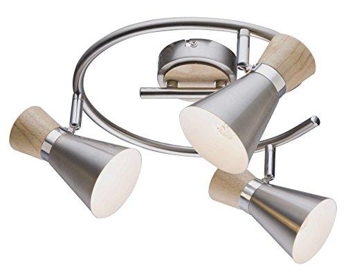 Deckenstrahler Flur 3 Flammig Deckenlampe Holz Optik Flurlampe Spots Beweglich Deckenbeleuchtung Wohnzimmer Lampe Deckenleuchte Deckenspot 28 Cm