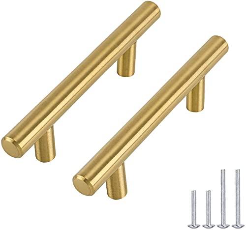 10x Goldenwarm T Stangengriff M/öbelgriffe Hohle Edelstahl K/üchenschrank T/ürgriffe Bohrlochabstand 128mm Gesamtl/änge 192mm
