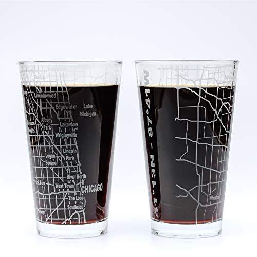 City Grid Biergläser, 2 Stück Chicago, IL von Greenline Goods