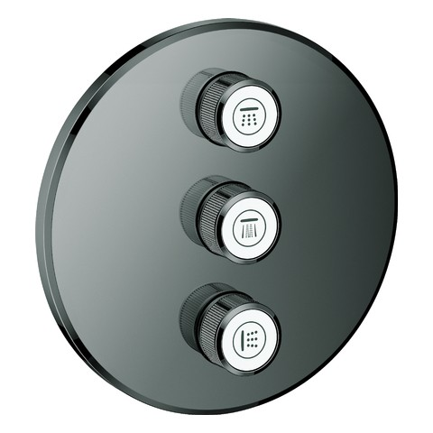 GROHE 3-fach UP-Ventil Grohtherm Smart Control 29122 FMS rund hard graphite, 29122A00 29122A00 von Grohe