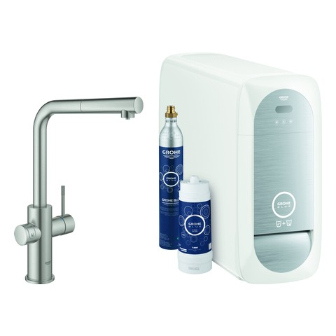 Grohe Blue Home Starter Kit 31539 auszb. Mousseur Bluetooth/WIFI L-Asl.supersteel, 31539DC0 31539DC0 von Grohe