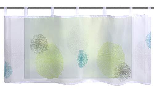 gr/ün 140 x 100 cm Home Fashion 69898-768 Raffrollo Digitaldruck Carozo Voile mit Fensterhaken und Zubeh/ör