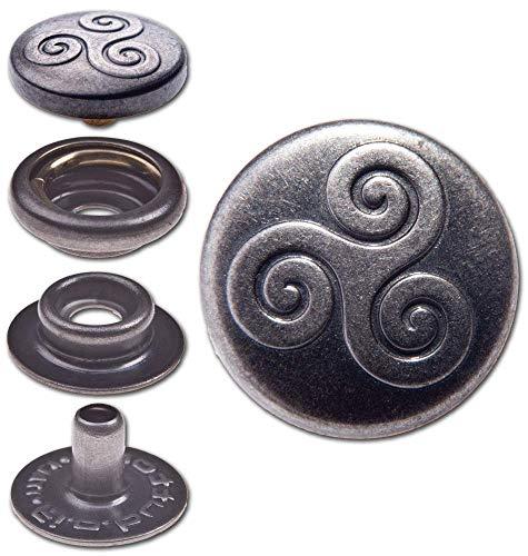 50 Knopfschraubnieten Patronentaschenverschluss 4,5mm silber-antik