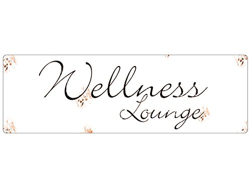 Interluxe Shabby Blechschild METALLSCHILD Türschild Wellness Lounge Bad WC Beauty Geschenk von Interluxe