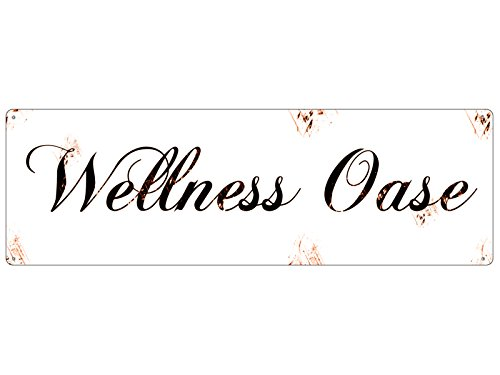 Interluxe Shabby Blechschild METALLSCHILD Türschild Wellness OASE Bad WC Beauty Geschenk von Interluxe