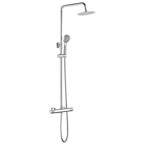 GRIFEMA BERLIN-G17004 Brausehalter Duscharm,Regendusche Duschset Handbrause Wassersparendes Duschsystem mit Einhebelmischer Brauseschlauch Duschstange Chrom