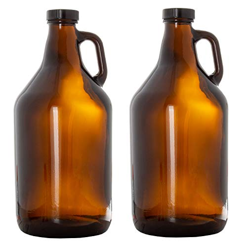 Amber Glass Growlers for Beer, 2 Pack - 64 oz Half Gallon Jug Set with Lids - Great for Home Brewing, Kombucha, Cider & More von Ilyapa