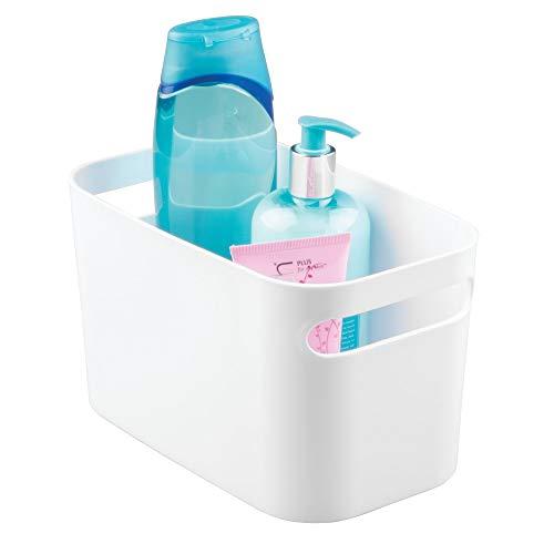 elegante Box zur Kosmetikaufbewahrung naturfarben mDesign Badezimmer Organizer praktische Aufbewahrungsbox mit 3 F/ächern f/ür Pflegeprodukte aller Art
