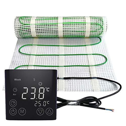 m/² Gr/ö/ße Elektrische Fu/ßbodenheizung 200Watt je m/² Thermostat Touch schwarz rund Elektrisch TWIN Technologie JWS verschiedene Gr/ö/ßen :1 m/²