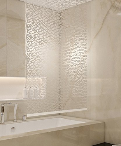 BASIC DUSCHROLLO 100x240 CM PEVA MILKY STONE TRANSPARENT OPTIK! SHOWER ROLLO CURTAIN! von KS Handel 24