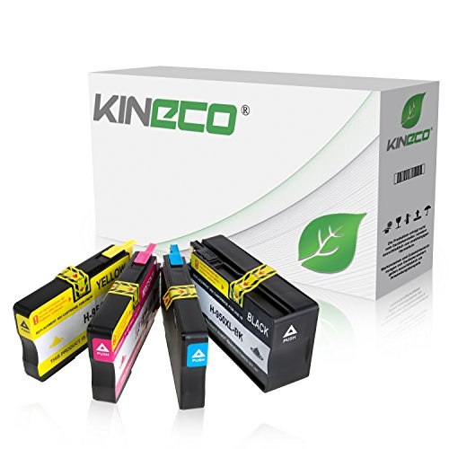 4 Kineco Tintenpatronen kompatibel zu HP 950XL/951XL für HP Officejet Pro 8610 8620 e-All-in-One 8100 ePrinter 276dw 251dw - CN045AE CN046AE CN047AE CN048AE - Schwarz 83ml Color je 30ml von Kineco