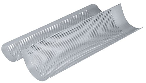 Kitchen Craft Chicago Metallic Commercial II Aluminium Antihaft-perforiert French Brot Backform, 41 x 20,5 x 6,5 cm (40,6 x 20,3 x 6,3 cm), Silber von Kitchen Craft