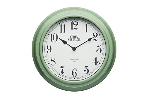 Kitchen Craft Living Nostalgia Analog Wanduhr, Plastik, Grün, 7.5 x 25.5 x 25.5 cm von Kitchen Craft