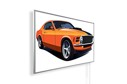 Muscle car orange;130W T/ÜV gepr/üft - IH Engineering BV Bildheizung Infrarotheizung mit Digitalthermostat f/ür Steckdose 5 Jahre Herstellergarantie- Elektroheizung mit /Überhitzungsschutz