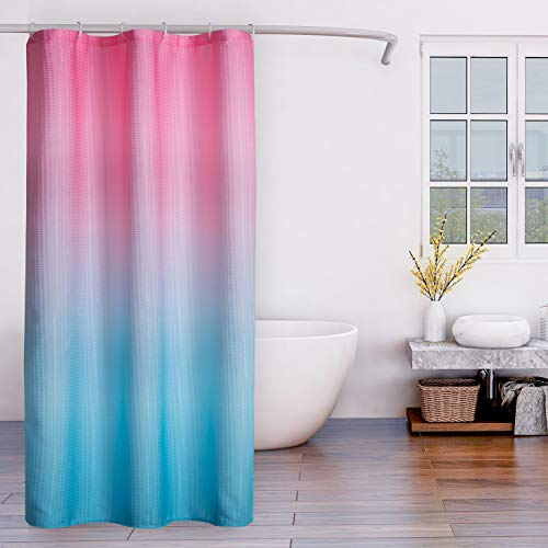 LORDTEX Ombre Textured Fabric Shower Curtains for Bathroom - Waterproof Total Privacy Washable Bathroom Shower Curtains with 6 Hooks, 1 Panel, 36 x 72 Inch, Pink and Blue von LORDTEX