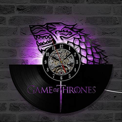 LRRD 3D Game of Thrones Rekord Wanduhr Winter kommt Vinyl Record Hanging Clock Geburtstagsgeschenk Home Decor von CNRNG
