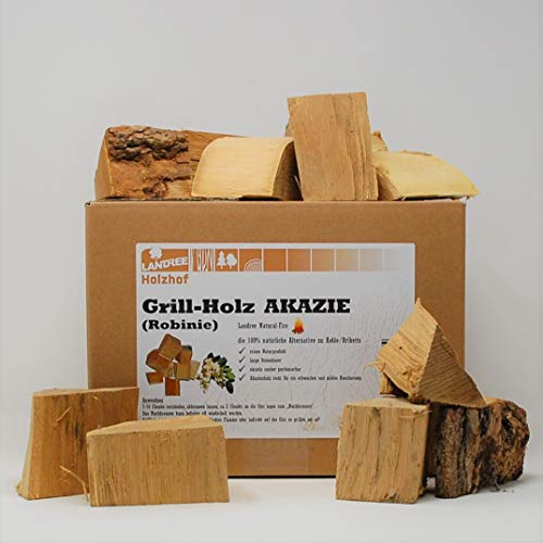 Landree® AKAZIE BBQ-Grillholz 3,5KG - Wood Chunks Natural-Fire - (saubere) Alternative zu Kohle oder Briketts von Landree