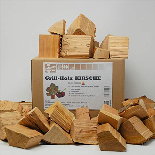 Landree® Kirsche BBQ-Grillholz 3,5KG - Wood Chunks Natural-Fire -(saubere) Alternative zu Kohle oder Briketts von Landree