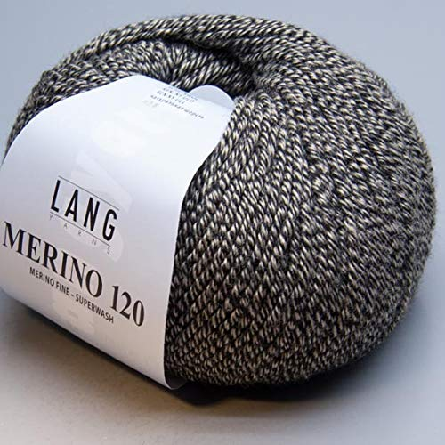 Lang Yarns Merino 120 Superwash 0055 schwarz/beige mouliné von Lang Yarns