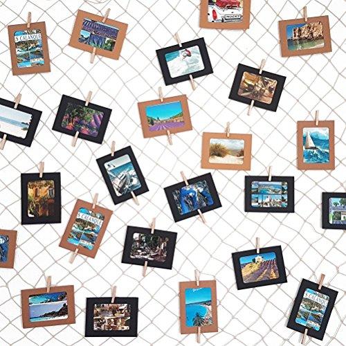 Handmade in Germany Fotoseil 2x80 cm mit 2x7 Klammern inklusive patentierter Seilhalter ideal um Fotos und Postkarten schnell aufzuh/ängen LeTOMA Fotoleine aus hochwertigem Naturhanf