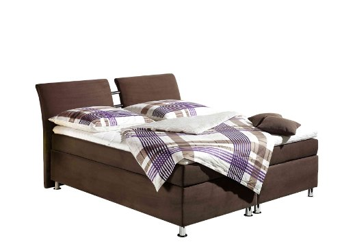 Maintal Boxspringbett Dean, 140 x 200 cm, Microvelour, 7-Zonen-Kaltschaum Matratze H2, braun von Maintal Betten