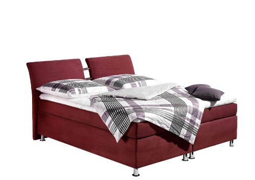 Maintal Boxspringbett Dean, 160 x 200 cm, Microvelour, Bonellfederkern Matratze H3, bordeaux von Maintal Betten