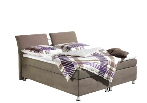 Maintal Boxspringbett Dean, 140 x 200 cm, Microvelour, 7-Zonen-Kaltschaum Matratze H3, taupe von Maintal Betten