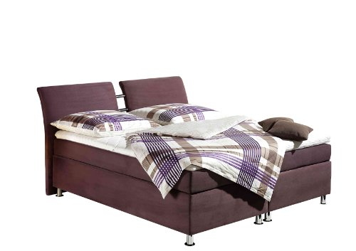 Maintal Boxspringbett Dean, 180 x 200 cm, Microvelour, 7-Zonen-Kaltschaum Matratze H3, beere von Maintal Betten