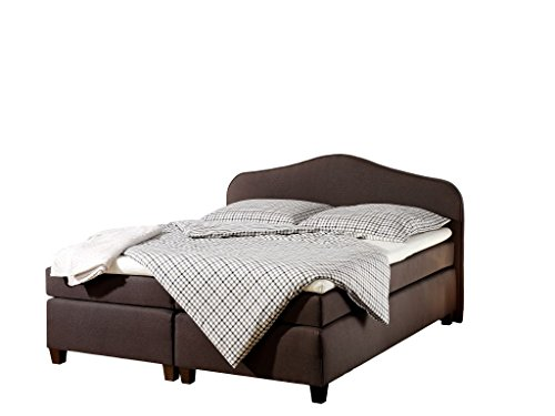 Maintal Boxspringbett Nevada, 180 x 200 cm, Stoff, Bonellfederkern Matratze H2, Braun von Maintal Betten