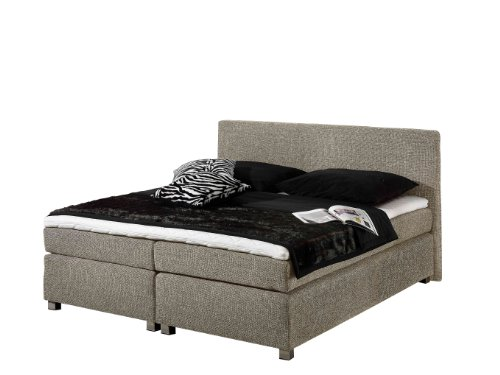 Maintal Boxspringbett Howard, 100 x 200 cm, Strukturstoff, 7-Zonen-Kaltschaum Matratze H2, taupe von Maintal Betten