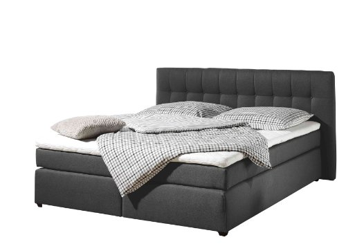 Maintal Boxspringbett Jeremy, 140 x 200 cm, Strukturstoff, 7-Zonen-Kaltschaum Matratze H2, anthrazit von Maintal Betten