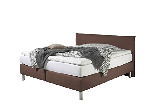 Maintal Boxspringbett Point, 100 x 200 cm, Stoff, 7-Zonen-Kaltschaum Matratze h2, Braun von Maintal Betten