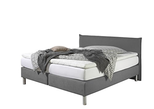 Maintal Boxspringbett Point, 140 x 200 cm, Stoff, 7-Zonen-Kaltschaum Matratze h3, Grau von Maintal Betten