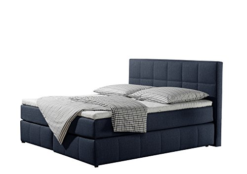 Maintal Boxspringbett Casano, 140 x 200 cm, Strukturstoff, 7-Zonen-Kaltschaum Matratze h2, denim-blau von Maintal Betten
