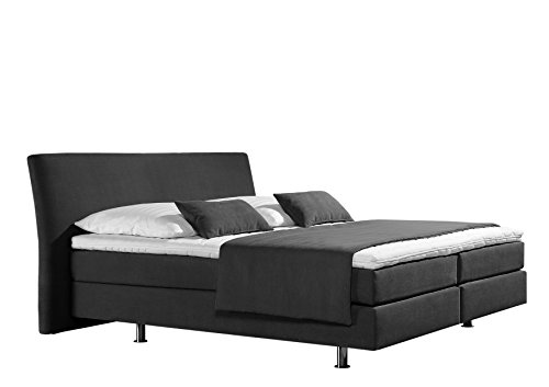 Maintal Boxspringbett Club, 100 x 200 cm, Strukturstoff, 7-Zonen-Kaltschaum Matratze h3, anthrazit von Maintal Betten
