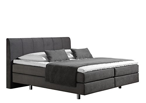 Maintal Boxspringbett Montepellier, 140 x 200 cm, Strukturstoff, 7-Zonen-Kaltschaum Matratze h2, anthrazit von Maintal Betten