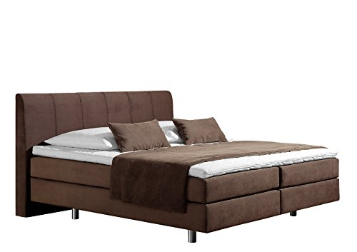 Maintal Boxspringbett Montepellier, 140 x 200 cm, Strukturstoff, 7-Zonen-Kaltschaum Matratze h3, choco von Maintal Betten