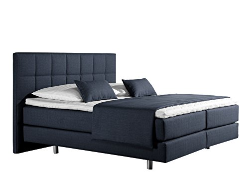 Maintal Boxspringbett Neon, 160 x 200 cm, Strukturstoff, 7-Zonen-Kaltschaum Matratze h3, denim-blau von Maintal Betten
