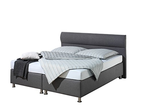 Maintal Boxspringbett Filipo, 140 x 200 cm, Stoff, Bonellfederkern Matratze h2, Anthrazit von Maintal Betten