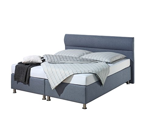 Maintal Boxspringbett Filipo, 180 x 200 cm, Stoff, Bonellfederkern Matratze h3, Blau von Maintal Betten