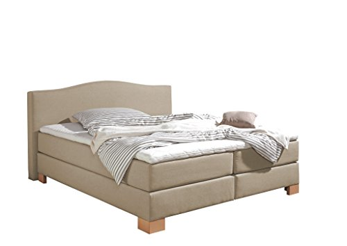 Maintal Boxspringbett Franklin, 180 x 200 cm, Stoff, Bonellfederkern Matratze h3, Beige von Maintal Betten