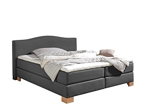 Maintal Boxspringbett Franklin, 140 x 200 cm, Stoff, 7-Zonen-Kaltschaum Matratze h3, Anthrazit von Maintal Betten