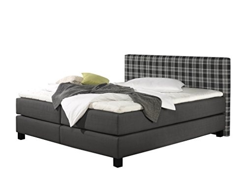 Maintal Boxspringbett Pinot, 100 x 200 cm, Stoff, 7-Zonen-Kaltschaum Matratze h2, Anthrazit von Maintal Betten