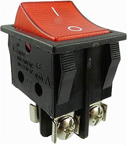 Geräte Schnurschalter 16A 250V~ mit wechselbare Wippschalter 2-polig beleuchtet