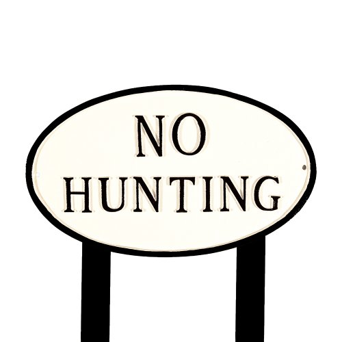 Montague Metal Products SP-24L-WB-LS Deko-Schild No Hunting, oval, mit 2 Rasenstäben, 58 cm, Weiß/Schwarz von Montague Metal Products