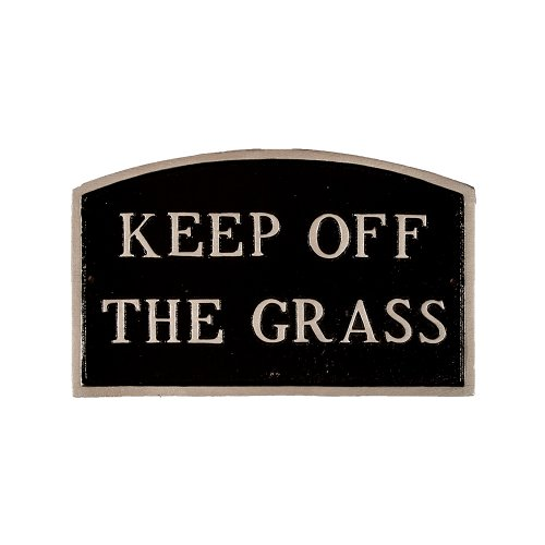 Montague Metal Products SP-27L-BS Statement Schild Keep Off The Grass Arch, groß, Schwarz/silberfarben von Montague Metal Products