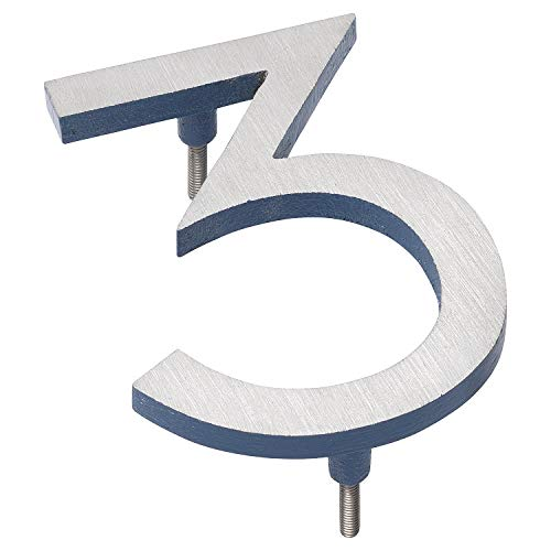 "Montague Metal Products Solid Brushed Aluminum Modern Floating Address House Numbers Hausnummern, Satin-Nickel-Puder, seeblau, zweifarbig, 16"" von Montague Metal Products"