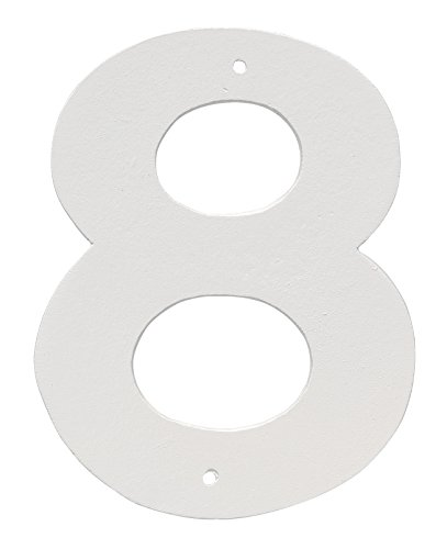 Montague Metall Produkte 10,2 cm Aluminium Hausnummer 8 Outdoor Plaque, mittel, weiß von Montague Metal Products