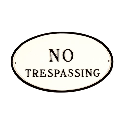 Montague Metall Produkte sp-1s-wb No Trespassing Oval Statement Plaque, Standard, weiß und schwarz von Montague Metal Products