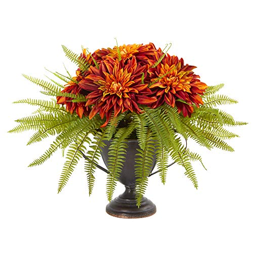 Nearly Natural 14in. Dahlia and Fern Artificial Metal Goblet Silk Arrangements, Orange von Nearly Natural